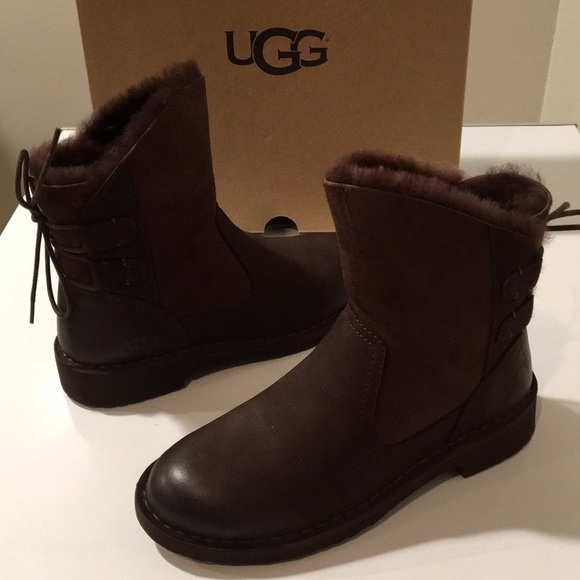 5ba2a71c986 😍New Ugg Naiyah Stout Laced Suede & Leather Sz 6 NWT